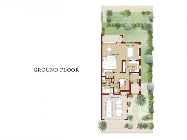 3 Bedroom Semi-detached Villa with Maid's Room - Floor Plan