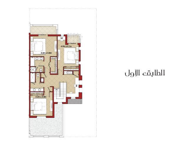 فيلا شبه منفصلة من 3 غرف نوم مع غرفة خادمة - Floor Plan