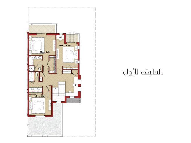 فيلا متلاصقة من 3 غرف نوم مع غرفة خادمة - Floor Plan
