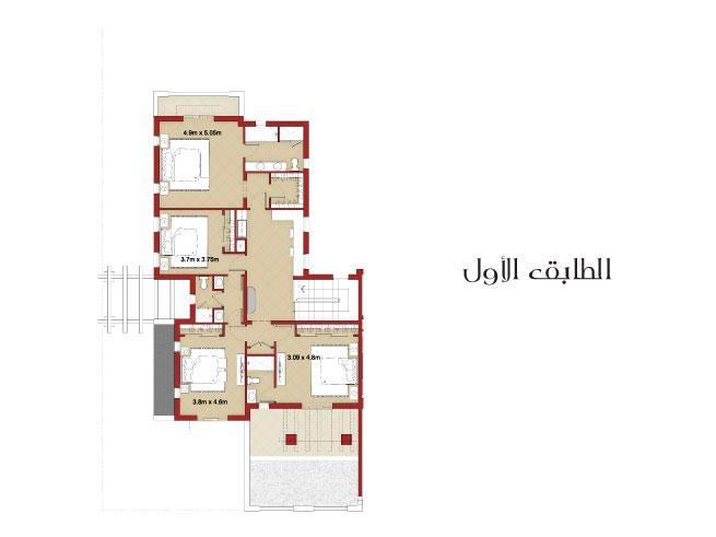 فيلا شبه منفصلة من 4 غرف نوم مع غرفة خادمة - Floor Plan